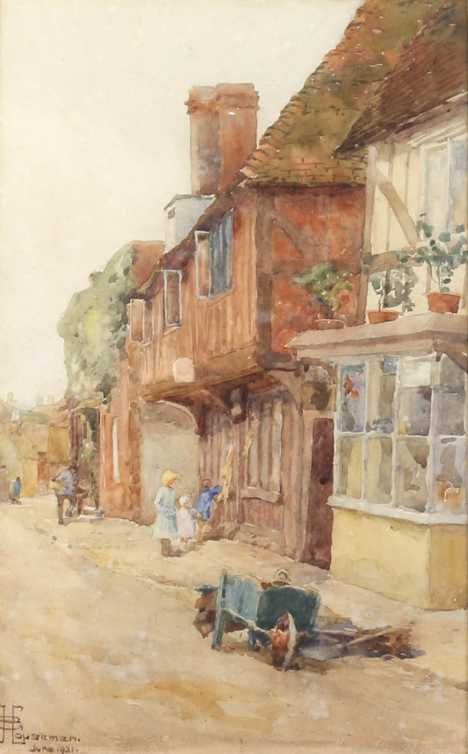 G. Houseman, 20th century, street scene with figures and barrow, signed and dated June 1921,
