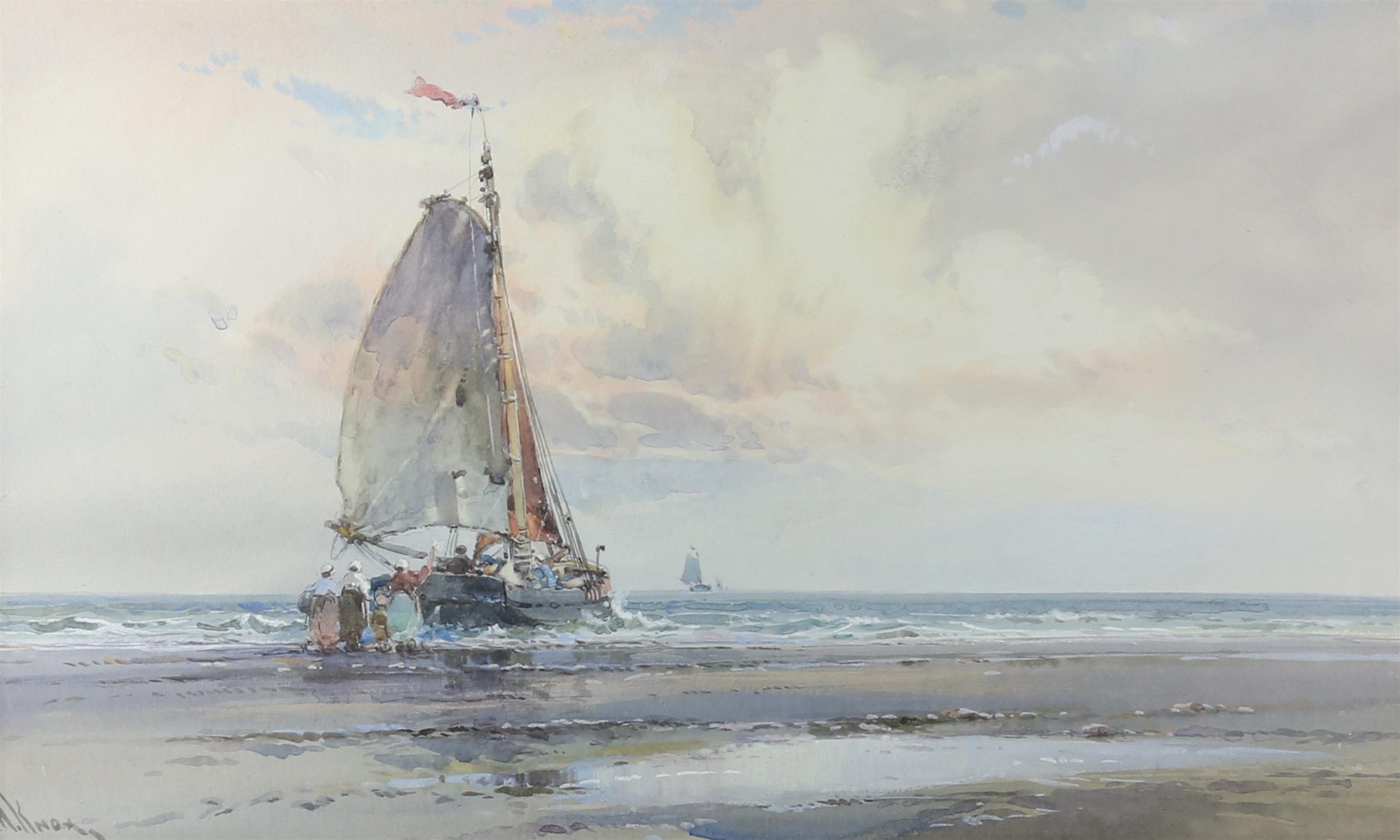 """Wilfred Knox (1884-1966) """"Off Venice"""" watercolour, signed, 29cm x 48cm, """"Dutch fishing boat at - Image 2 of 6"""