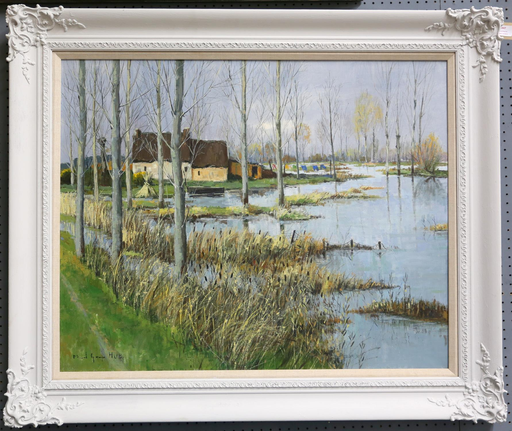 Marcel Georges Hue (b. 1907). 'Les Paysage en Briere', lakeside landscape. Oil on canvas, - Image 2 of 3