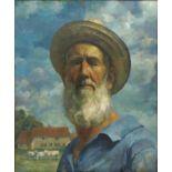 § Lionel Ellis.( 1903-1988) Self Portrait with farm beyond. Oil on canvas, unsigned.