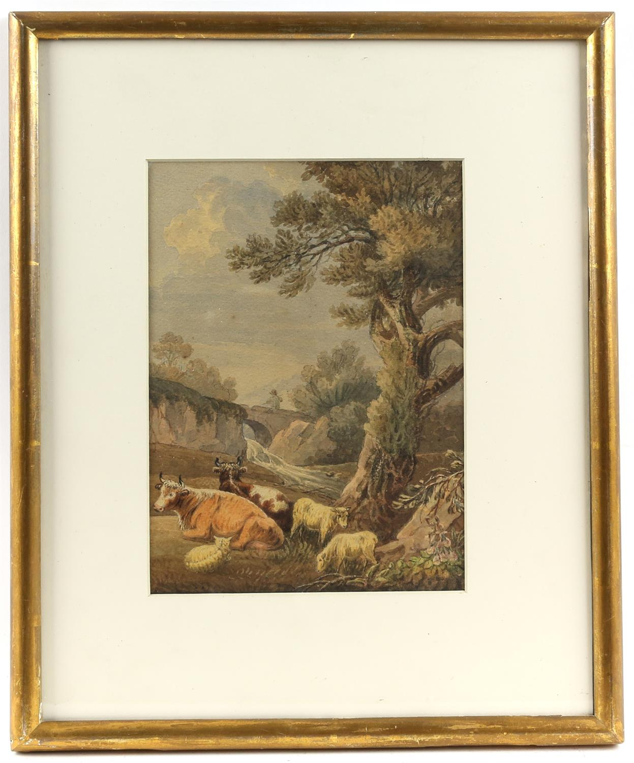 Nineteenth-century English school, pastoral landscape with cattle and sheep to foreground. - Image 2 of 3