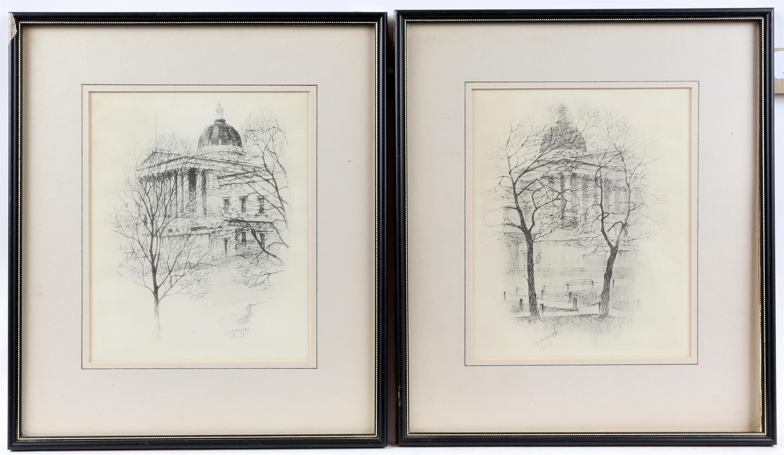 John Dean Monroe Harvey (1895-1978). Pair of Architectural Studies, possibly St Pauls.