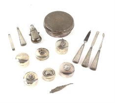A group of miscellaneous items, including a trinket box, a scent bottle, six pill pots,