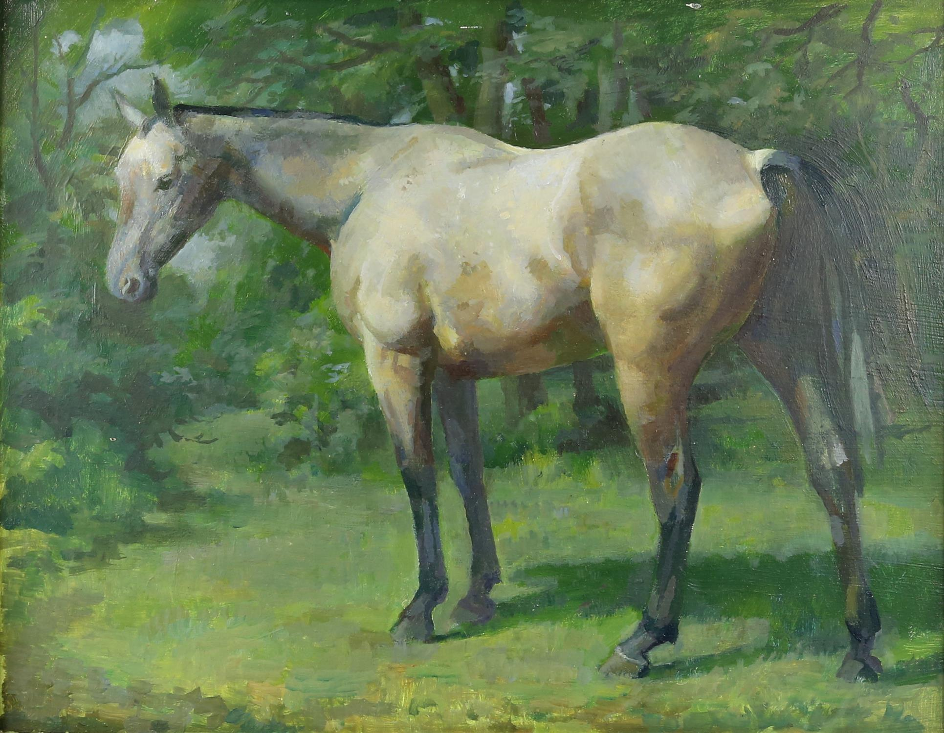 § Lionel Ellis (1903-1988). Grey Horse in Woodland. Oil on panel, unsigned. 45 x 55cm.