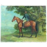 § Lionel Ellis (1903-1988). Rider on a Bay Horse in a landscape. Oil on canvas. Signed on stretcher