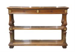 Late 19th / early 20th century walnut three tier buffet, with two frieze drawers and gilt metal