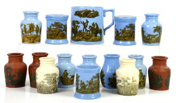 Collection of 19th Century Pratt-ware ceramic potted meat pots, jars (two with cover),