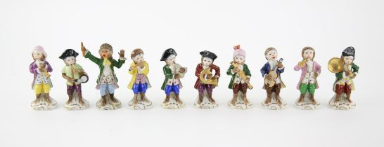 Sitzendorf porcelain ten piece monkey band, each marked to base, h11.5cm tallest (10)
