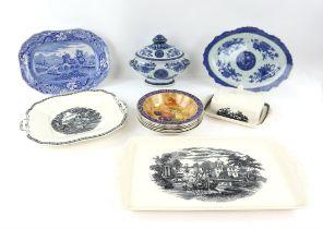 "Wedgwood ""Lugano "" black transferware rectangular tray, circular plate, 23cm dia and butter dish"