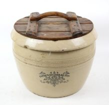 Doulton & Co, Lambeth stoneware Improved Bread Bin, having wooden lid with handle,