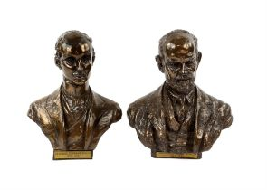 Pair of miniature cold-cast bronze busts of Charles Stewart Rolls and Frederick Henry Royce
