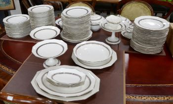 Early 20th century Limoges dinner service, Art Deco style with silvered design by F Paulhat to