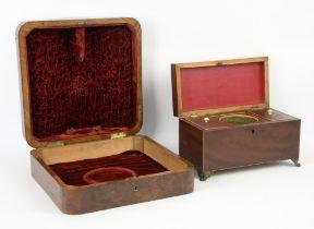19th century mahogany two compartment tea caddy,W30cm, D15cm, H17.5cm, mahogany writing box with