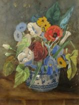 Hannah Barlow (1851-1916), Wild flowers in a blue and white bowl, watercolour, signed with a