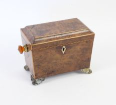 Late 19th century burr walnut and boxwood strung tea caddy, with two lidded compartments,