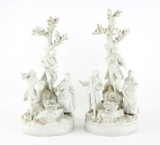 Pair of early 20th century Sevres blanc de chine bisque porcelain figural groups of musicians and