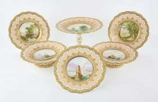 19th century English porcelain part dessert service decorated with shipping and landscape scenes
