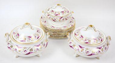 Royal Crown Derby Princess Rose pattern dinner service, from a Derby Original pattern circa 1790,
