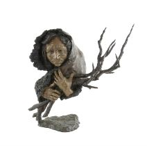 Mark Hopkins (American, b.1965), limited edition bronze of an elderly lady holding a bundle of