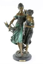 """Early 20th century spelter figural lamp """"Sisters"""" after A. Moreau, H77cm"""