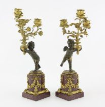 Pair of late 19th/early 20th century red marble, bronze and gilt metal three light candelabra in