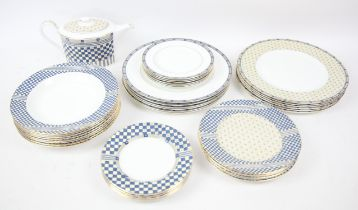 Wedgwood Samurai pattern part dinner service, c.1997, to include 1 gravy boat and saucer,