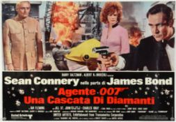 James Bond - Diamonds Are Forever Italian photobusta and Die Another Day mini quad poster, folded.