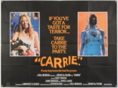 Carrie (1976) British Quad film poster for the Brian De Palma Oscar nominated horror-thriller based