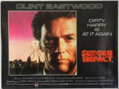 """Three Clint Eastwood British Quad film posters, Sudden Impact (1983) """"proof"""" example,"""