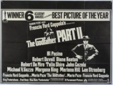 The Godfather Part II (1974) British Quad film poster, for the classic Francis Ford Coppola