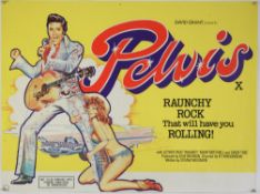 Pelvis (1977) British Quad film poster for the musical-comedy clearly referencing Elvis Presley,