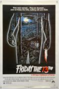 Friday The 13th (1980) US One Sheet film poster, rolled, 27 x 41 inches.