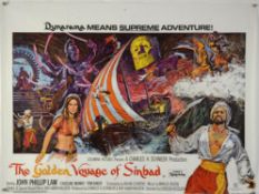 10 British Quad film posters including The Golden Voyage of Sinbad, Bonnie and Clyde, Superfly,