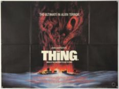 The Thing (1982) British Quad film poster, Horror directed by John Carpenter, Universal, folded,