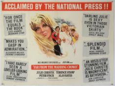Far From The Madding Crowd (1967) British Quad film poster with Julie Christie & Peter Finch,