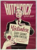 Suspicion (R-1950s) Danish film poster for the Alfred Hitchcock thriller starring Cary Grant and