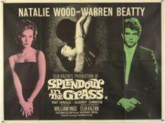 Splendour In The Grass (1961) British Quad film poster starring Nathalie Wood & Warren Beatty,