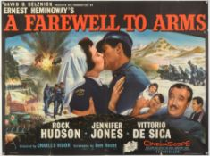 A Farewell To Arms (1957) British Quad film poster, based on the Hemingway novel & starring Rock
