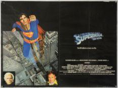 Superman (1978) British Quad film poster, starring Christopher Reeve, Gene Hackman & Marlon Bando,