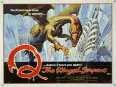 10 Horror British Quad film posters including Q The Winged Serpent, The Return of the Living Dead