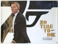 James Bond No Time To Die (2021) British Quad teaser film poster, showing an image of Daniel Craig,