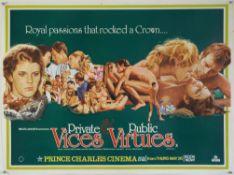 Private Vices & Public Virtues (1976) British Quad film poster, Tom Chantrell poster illustration,