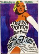 The Seven Year Itch (R-1966) German film poster starring Marilyn Monroe, rolled, 23 x 33 inches.