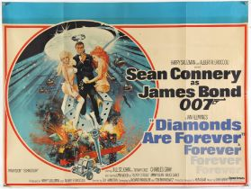James Bond Diamonds Are Forever (1971) British Quad film poster, starring Sean Connery,