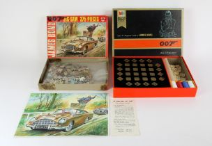 James Bond - Goldfinger Jigsaw with signed print by artists Walt Howarth and Milton Bradley board