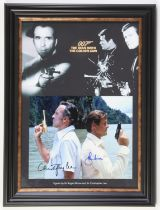 James Bond The Man With the Golden Gun - Colour photo signed by Roger Moore and Christopher Lee,