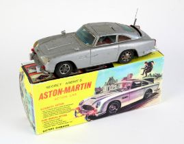 James Bond battery-operated Secret Agent's Aston-Martin Action Car in original box, Made in Japan.