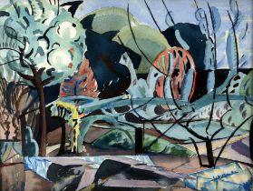 Michael Hutchings (British, 1918-2020), 'Garden'. Landscape. Watercolour. 'New English Art Club'