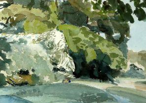 Michael Hutchings (British, 1918-2020), landscape. Watercolour on paper. 46 x 62cm.