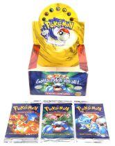 Pokemon TCG opened / empty base set booster box display. Plus three sealed Base Set packs –